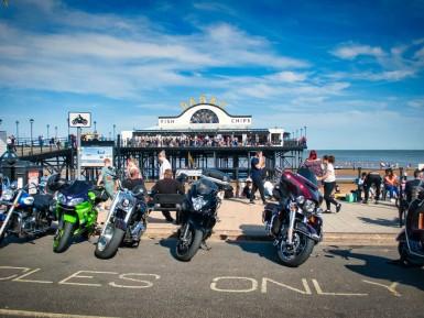 Motor Bike outside the pier Cleethorpes